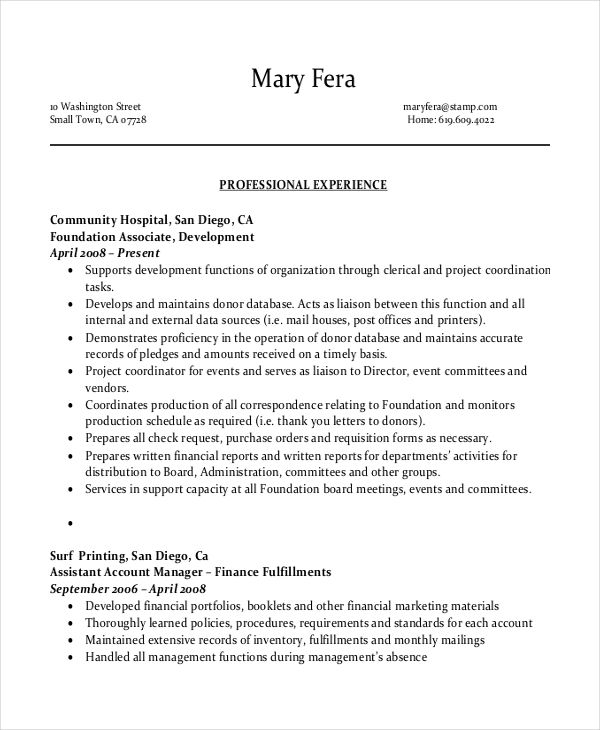 Administrative Assistant Resume Templates Free Sample Example