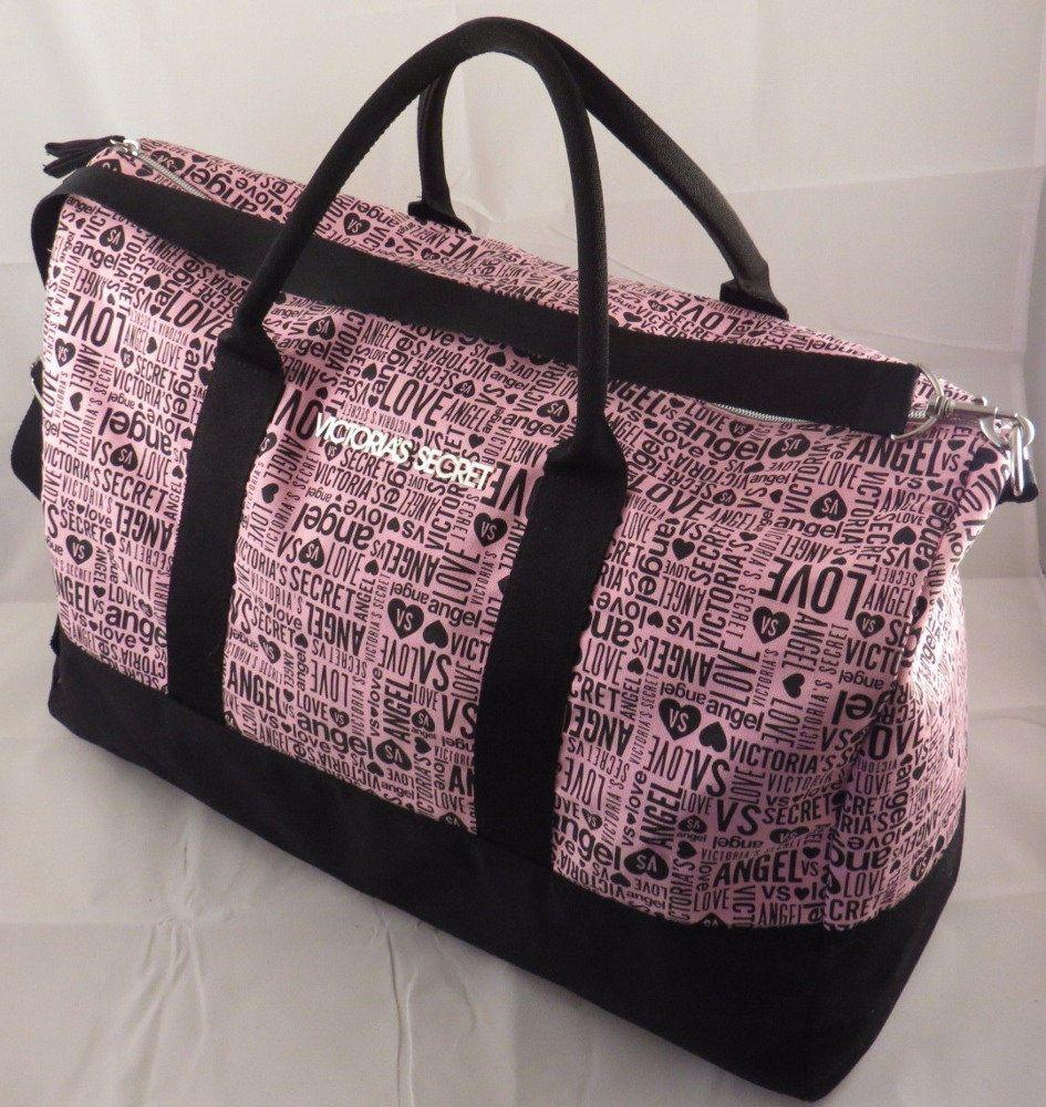 4bbcfd870c Victoria s Secret ANGEL VS LOVE PINK BLACK Gym Duffel Bag Weekend Getaway  Tote  VictoriasSecret