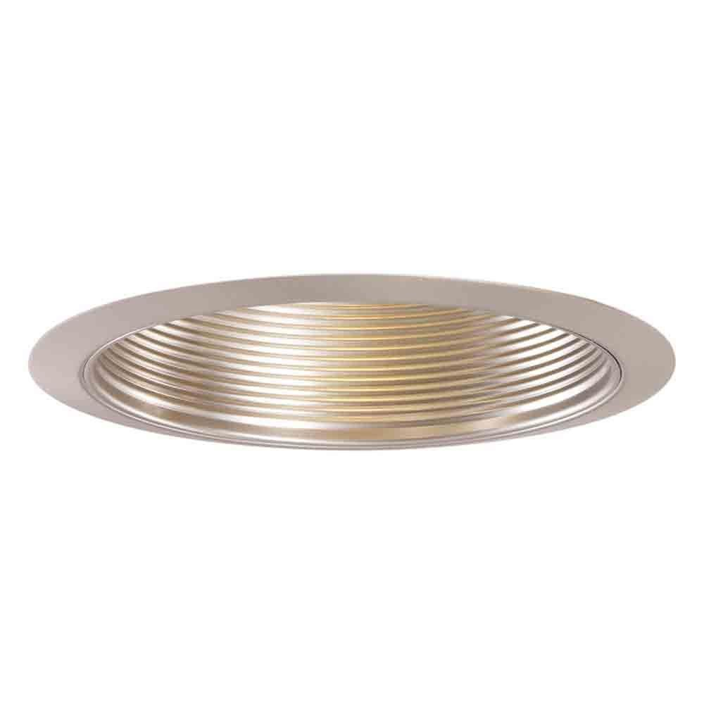 Halo 6 in satin nickel recessed ceiling light metal baffle trim halo 6 in satin nickel recessed ceiling light metal baffle trim 353sn the home depot mozeypictures Gallery