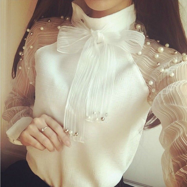 Pearl Beaded Long Sleeve Chiffon Blouse