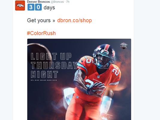 official photos 97d4d 97740 Broncos to sport Color Rush uniforms Thursday | miscl ...