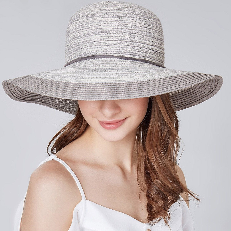 2e5045b51 Women Floppy Sun Hat Summer Wide Brim Beach Cap Foldable Cotton ...
