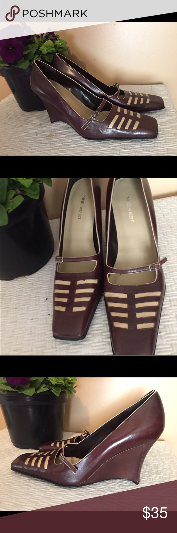Nine West Brown wedge heels size 9M Beautiful Nine West dark brown with tan accents,  wedge heels.   Size:  9M.   Slip on with buckle.  They are in new without box condition.  Smoke free home. Nine West Shoes Heels
