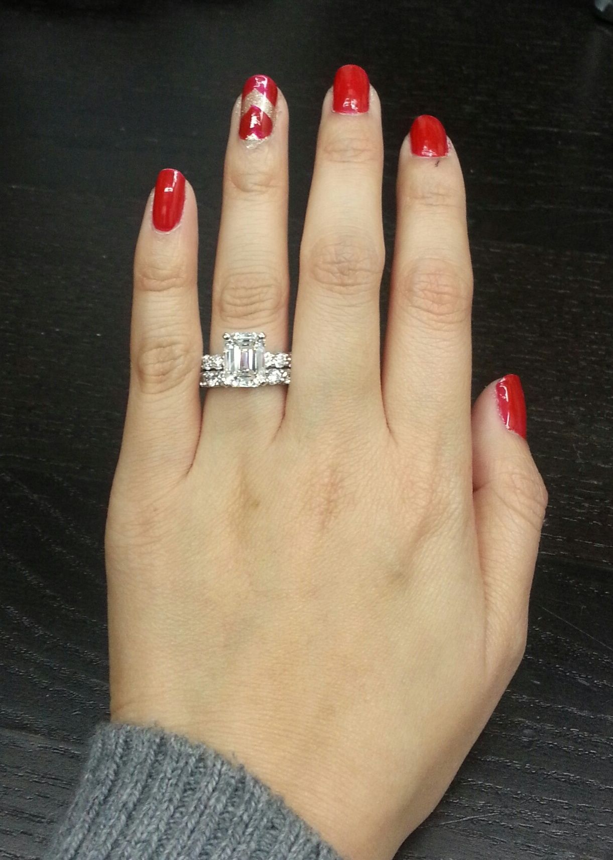 A Hot Red To Match Ct Emerald Cut Diamond Engagement Ring With Matching Shared Prong Wedding Band