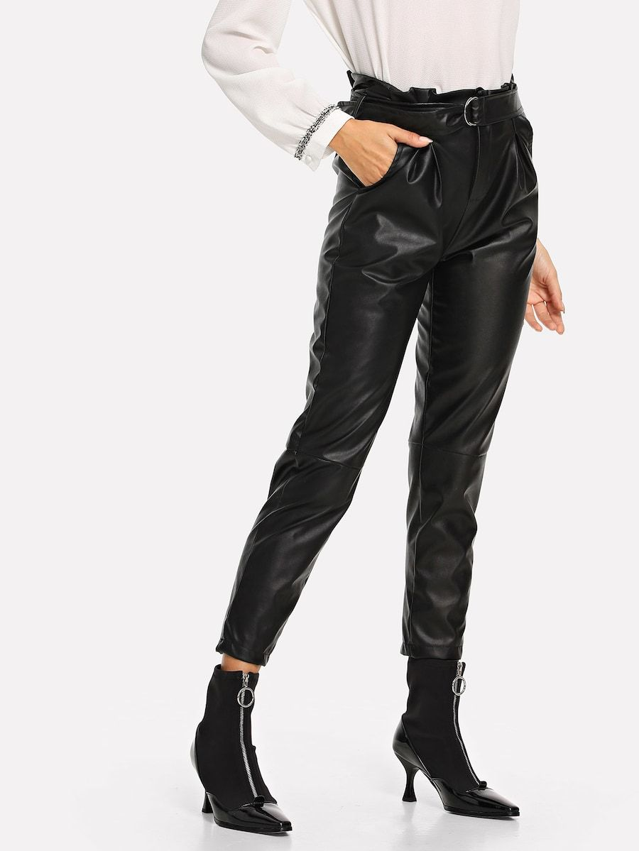 55aa9312ce Solid Belted Pu Pants -SheIn(Sheinside) | winter fashion | Black ...