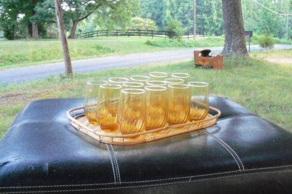 Amber Drinking Glass Set Baker's Dozen by AntiquesandVaria on Etsy, $36.20