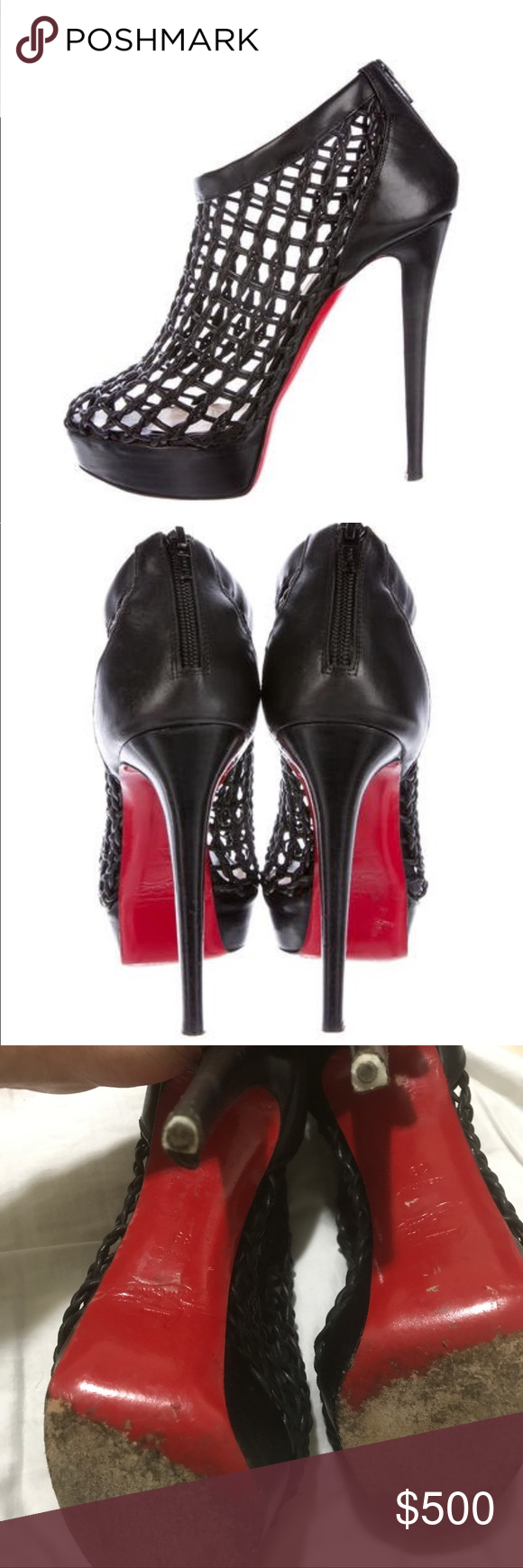 6e720f26eb18 CHRISTIAN LOUBOUTIN - Coussin Caged Booties Black leather genuine Christian  Louboutin Coussin round toe booties with