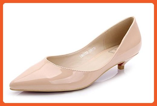 254973eadd2 CAMSSOO Women s Classic Slip On Pointed Toe Low Kitten Heel Wedding Dress  Pumps Shoes Nude Patent Leather 7.5 M US - Pumps for women ( Amazon  Partner-Link)