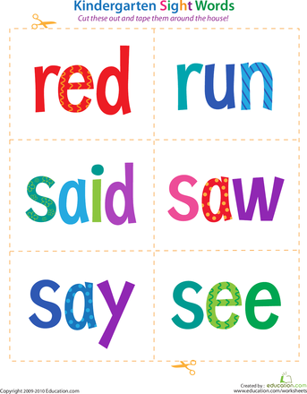 Kindergarten Sight Words: Red to See | Kindergarten sight words ...