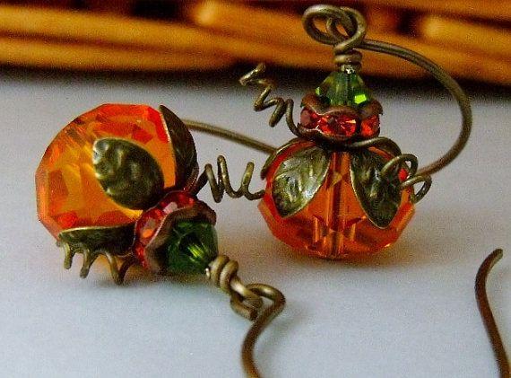 Pumpkin Earrings Orange Crystal Beaded by pinkingedgedesigns, $19.00