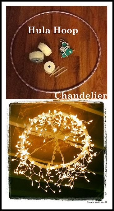 hula hoop chandelier made of string lights crochet pantallas pinterest. Black Bedroom Furniture Sets. Home Design Ideas