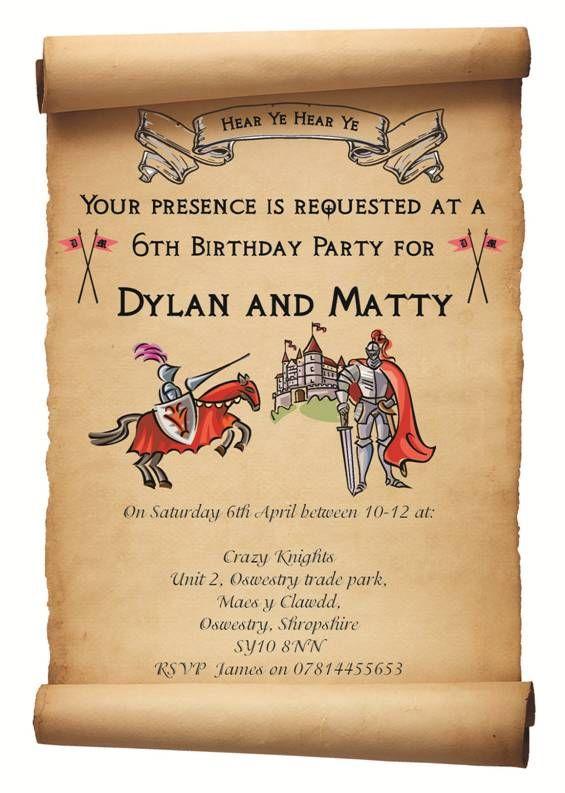 Knight party invitation Logans birthday Pinterest – Knight Birthday Invitations