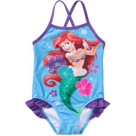 c5d919a79 Disney Little Mermaid Ariel Toddler Girl 1-Piece Swimsuit, Multicolor