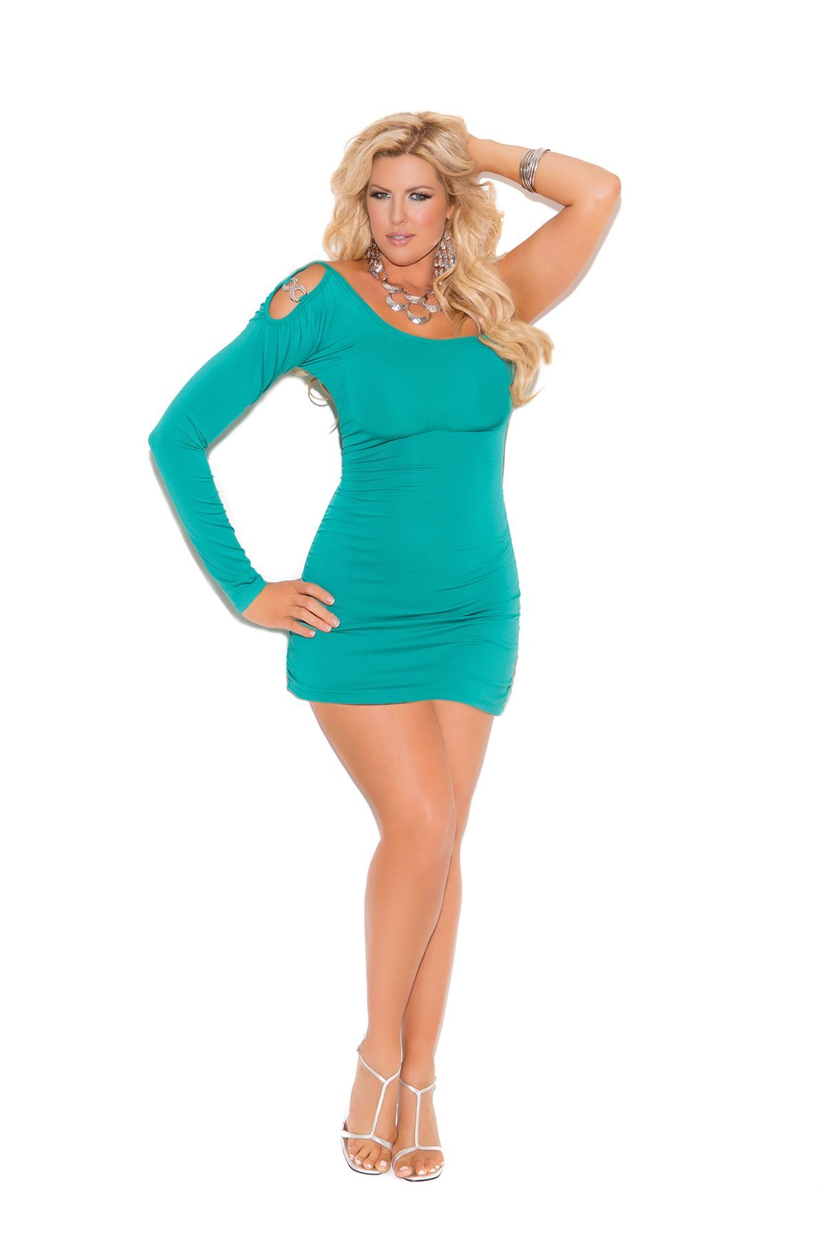 Sexy and hot, Plus Size Jade one shoulder stretch mini dress with ...