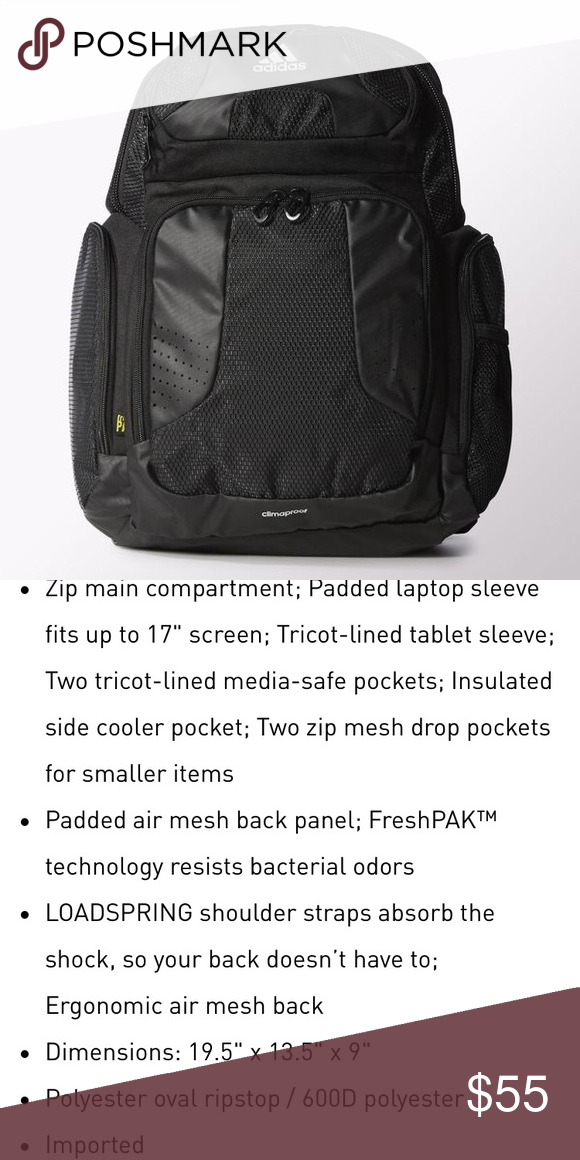 254dc7b34 Adidas CLIMACOOL STRENGTH BACKPACK The ultimate all-season carryall, this  weatherproof training backpack is