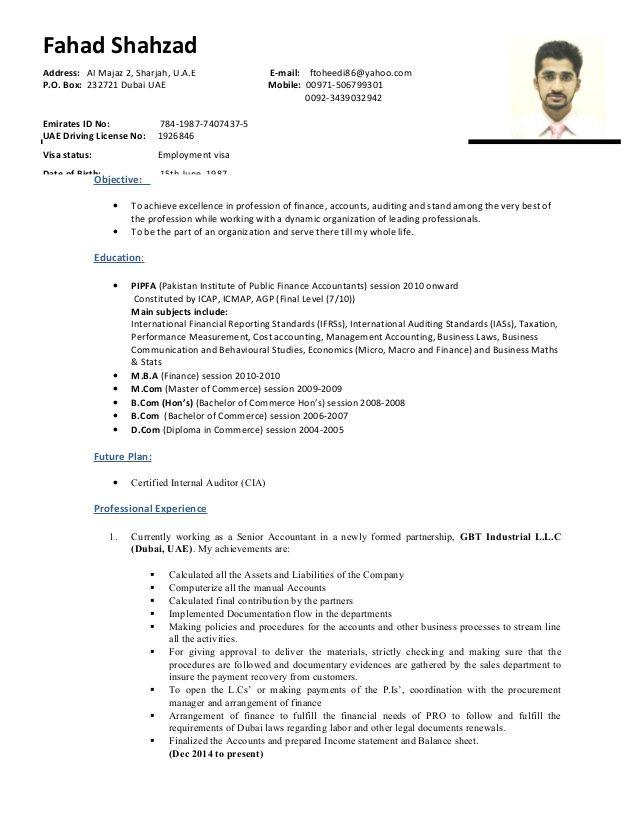 Uae Experienced Senior Auditor Senior Accountant S C V Auditor Internal Audit Finance