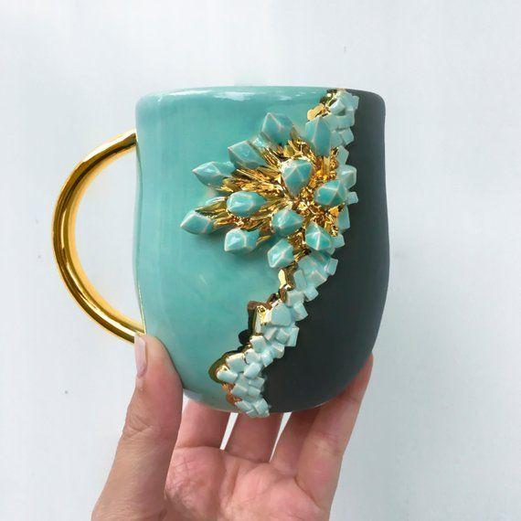 Crystal Mug in Jade, Geode Mug Aquamarine Modern Mud, Blue and Gold Mug, Handmade Ceramic Mug #ceramicmugs