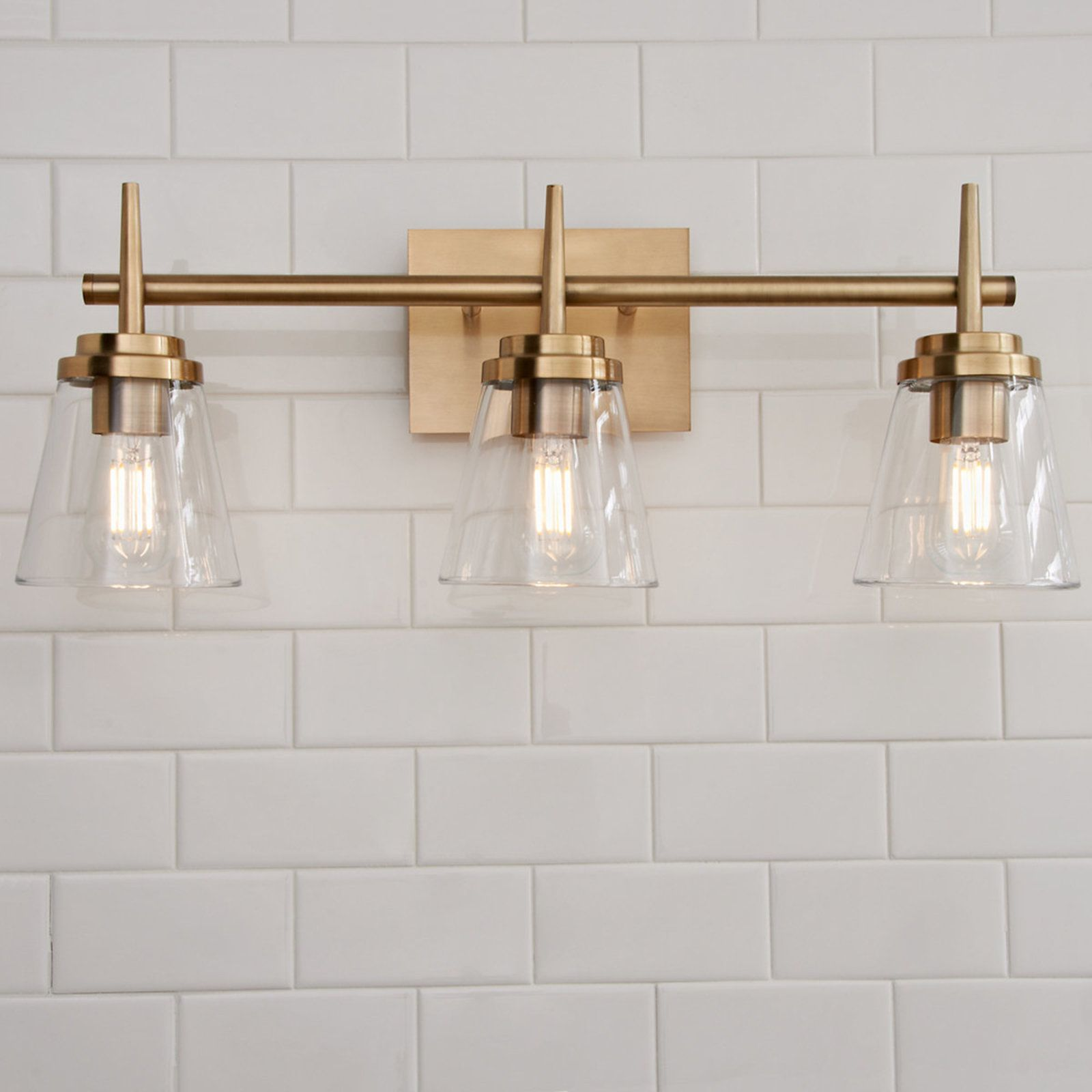 Tapered Spike Vanity Light 3 Light Bathroom Light Fixtures Bathroom Design Bathroom Styling