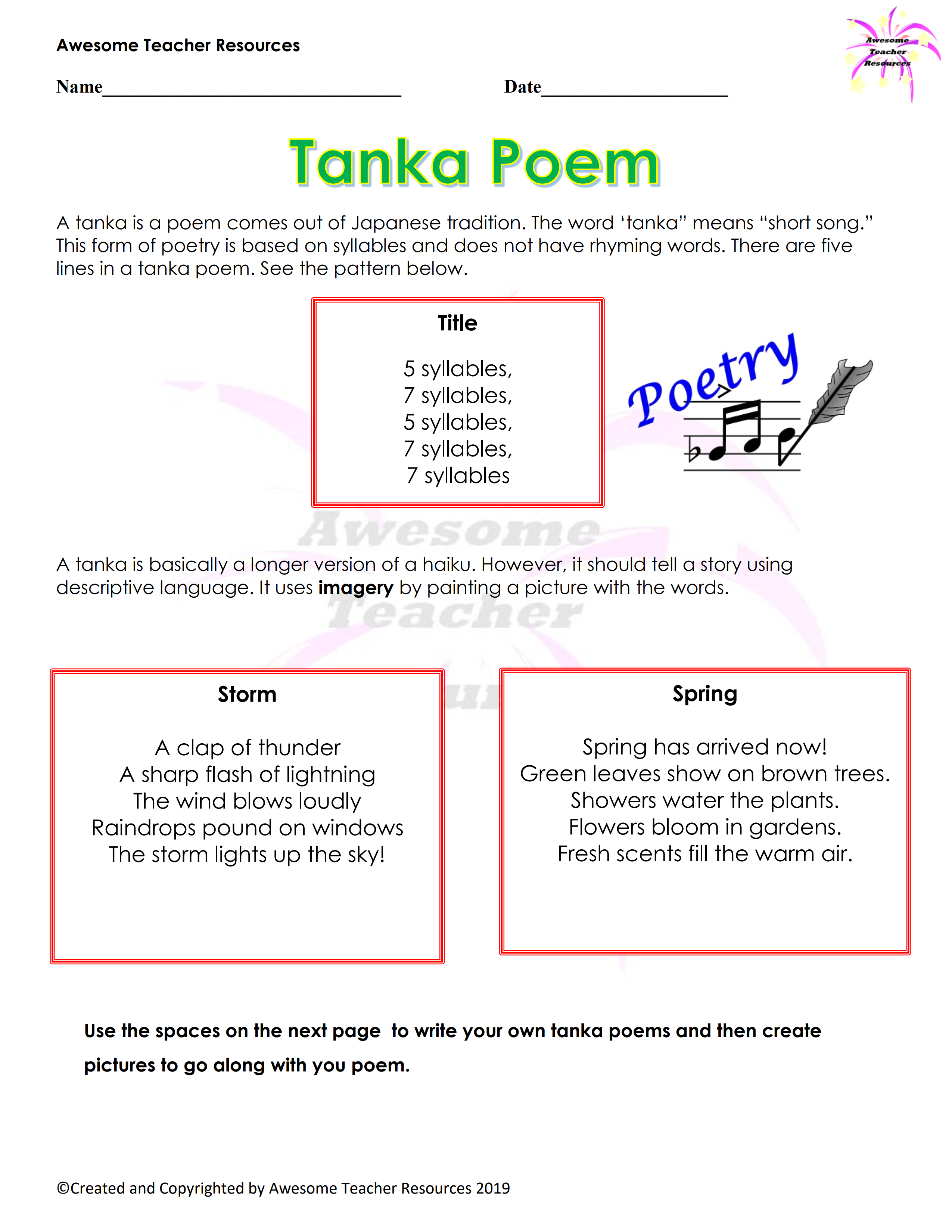 Tanka Poem Worksheet In