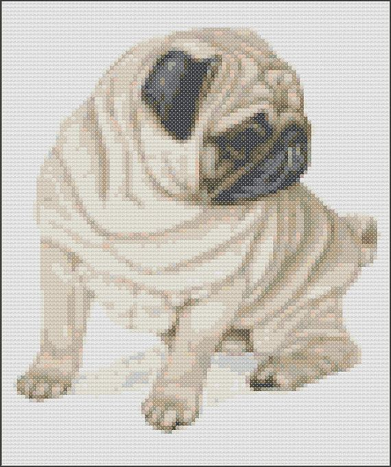 This pattern is of a fawn sitting Pug and uses 23 colours. The ...