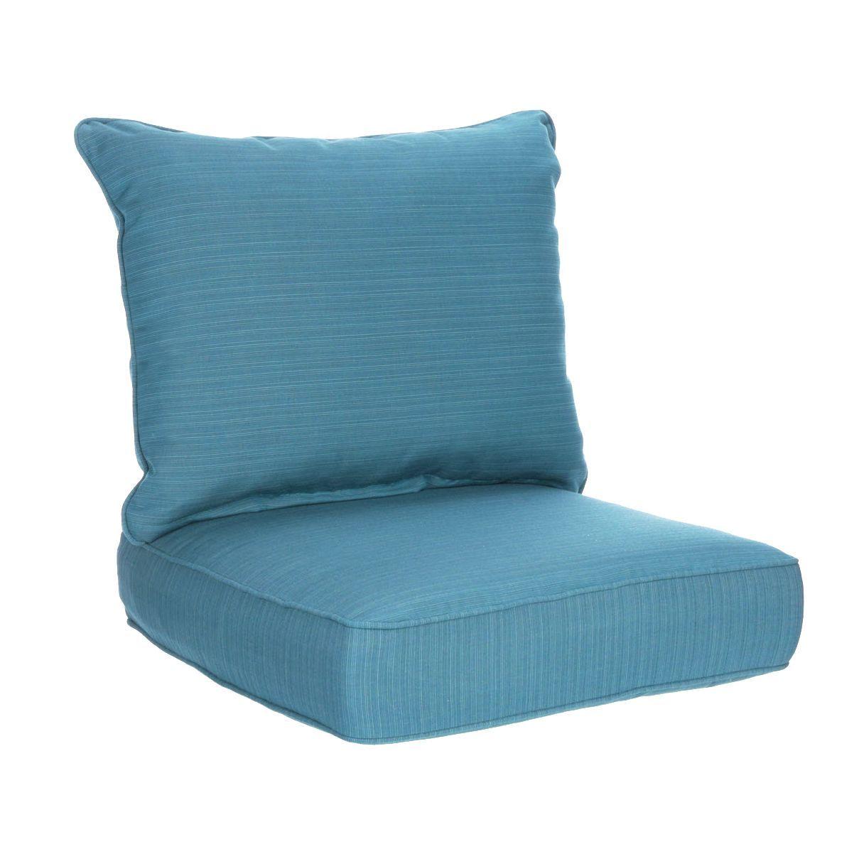 Allen Roth Sunbrella 2 Piece Deep Sea Deep Seat Patio Chair Cushion Lowes Com Patio Chair Cushions Deep Seating Patio Furniture Cushions
