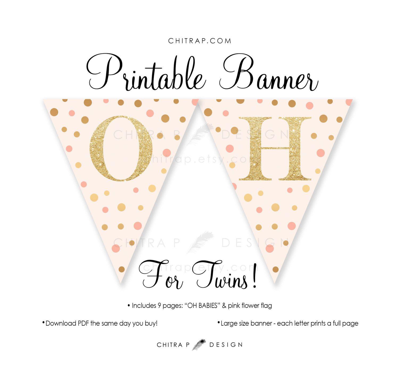 Twins Baby Shower Banner  Printable, Blush Pink Gold Glitter