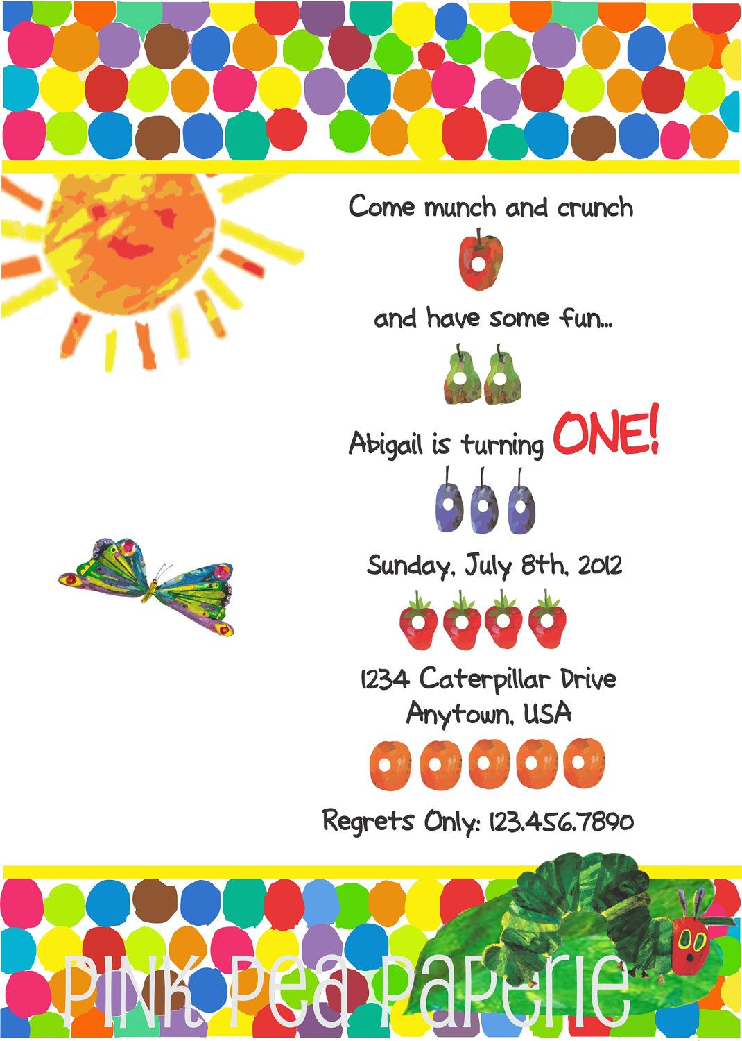 Custom Printable A Very Hungry Caterpillar Birthday Invitation 5x7 ...