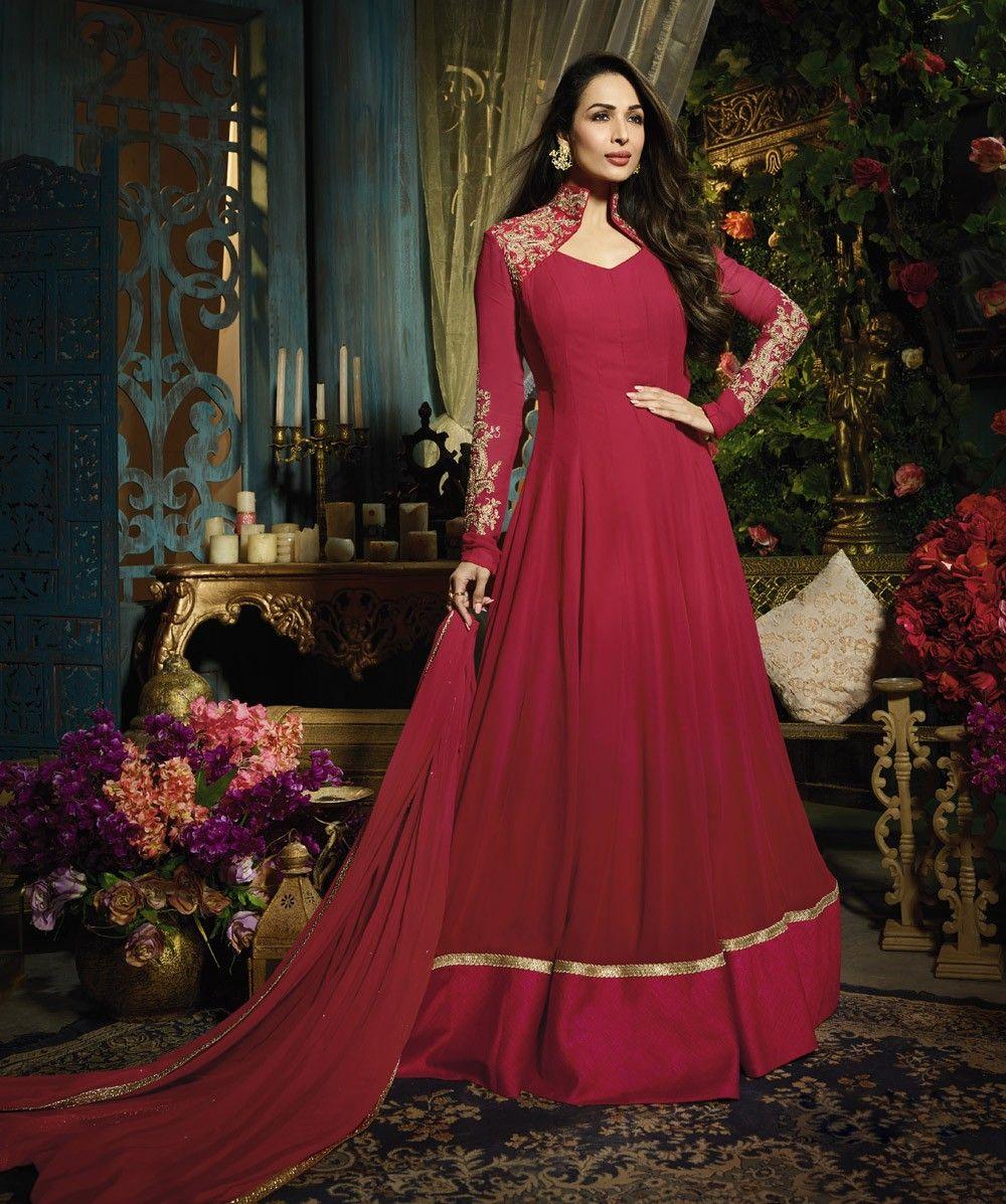 Beautiful maroon gown style anarkali dress designer salwar kameez
