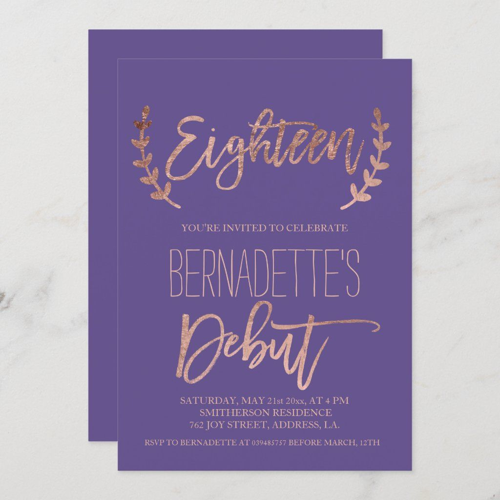 Rose Gold Typography Debut Purple 18th Birthday Invitation Zazzle Com Gold Typography 21st Birthday Cards 21st Birthday Invitations