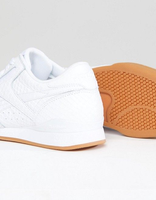 Classic Phase 1 Pro Trainers In Embossed Faux Snake - White Reebok TACNN
