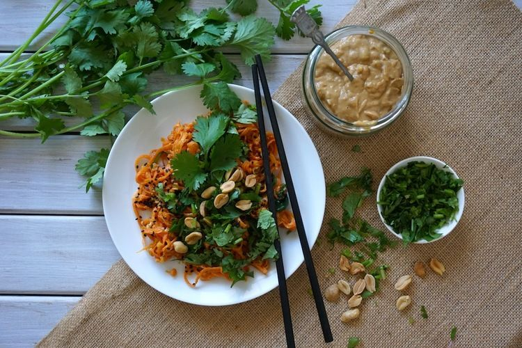 Sweet Potato Noodles with Lemongrass Satay Sauce