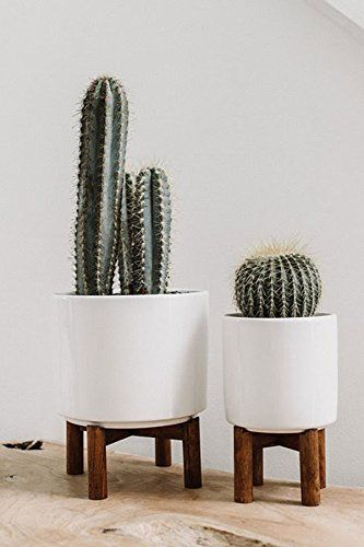 Midcentury Modern 6 X 8 Large White Planter W Wood Stand Succulent Houseplant Not Included 4 Pack Inch And