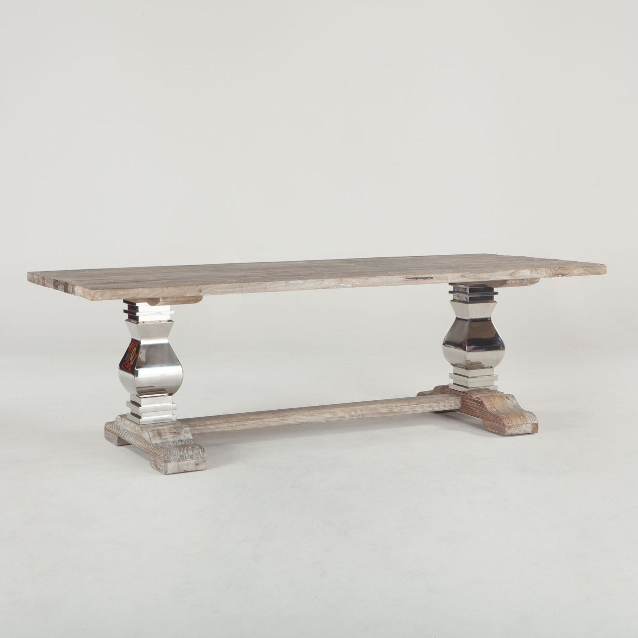 Rustic Luxe Dining Table, weathered top, shiny stainless steel base ...