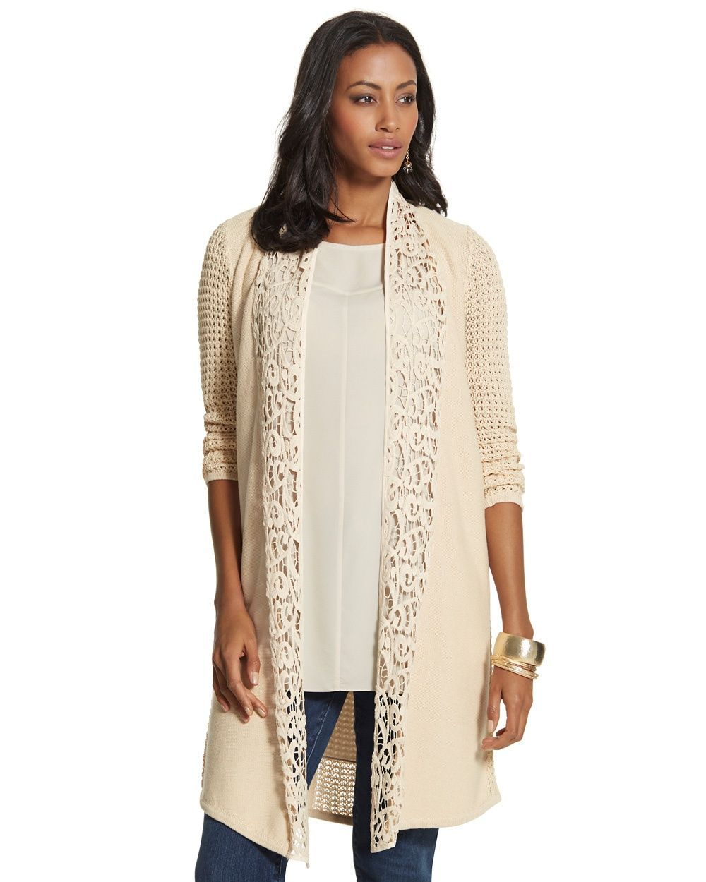 Chico's Women's Leslie Lace Cardigan | Cardigans For Men | Pinterest