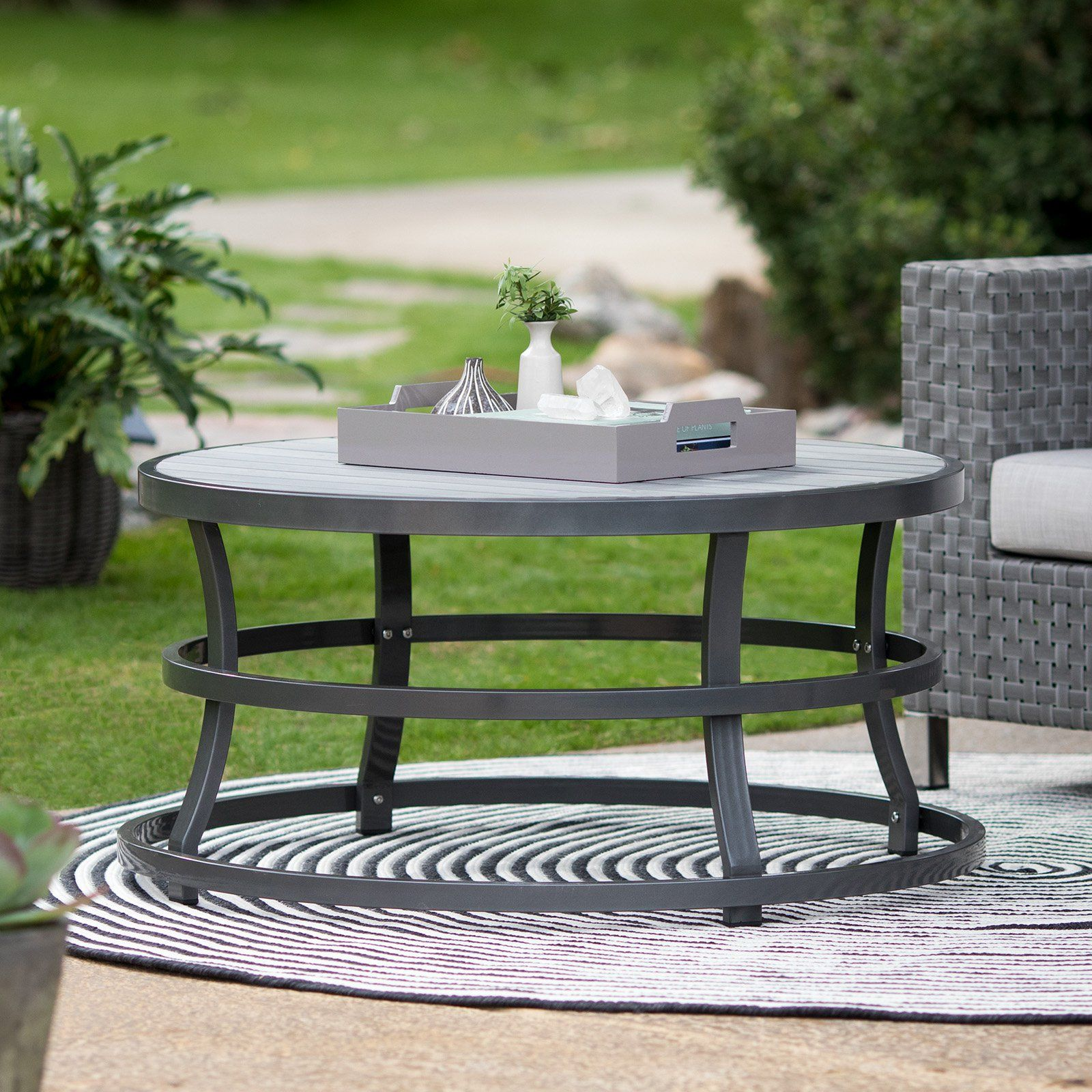 Belham Living Sona Faux Wood Round Outdoor Coffee Table