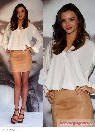 Miranda Kerr in Tan Leather Skirt - Miranda Kerr - Zimbio  30 Aug 2011