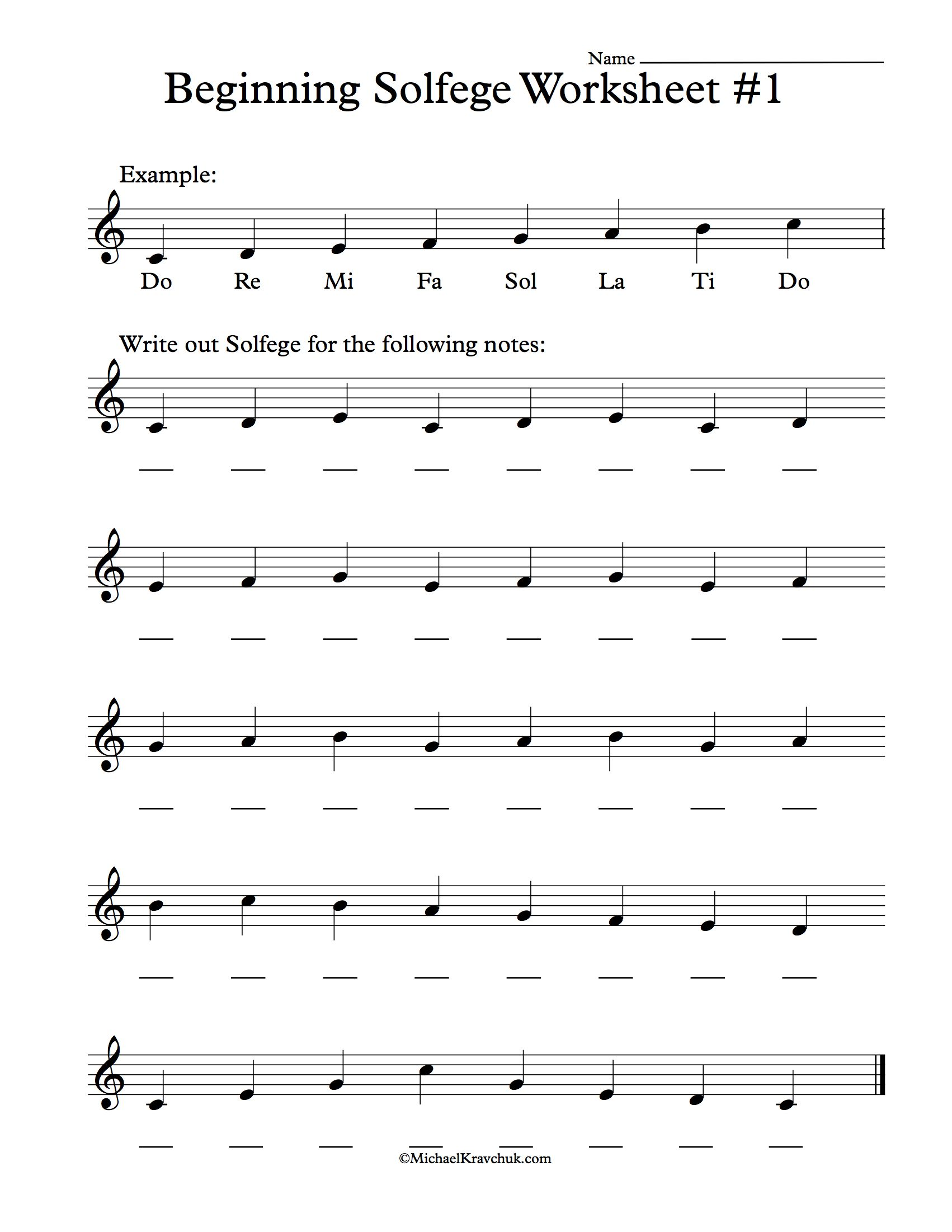 Beginning Solfege Worksheet 1 For Classroom Instructions