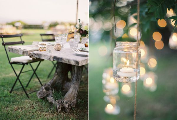 french slat chairs//jars hanging from trees