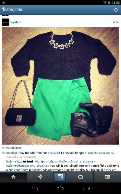 Love the green skirt - topshop image