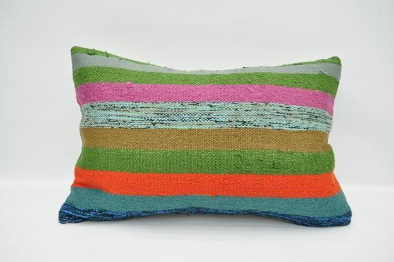 """kilim pillow 16""""x24"""" cushion cover  vintage lumbar pillow ethnic pillow cover anatolian pillow case"""