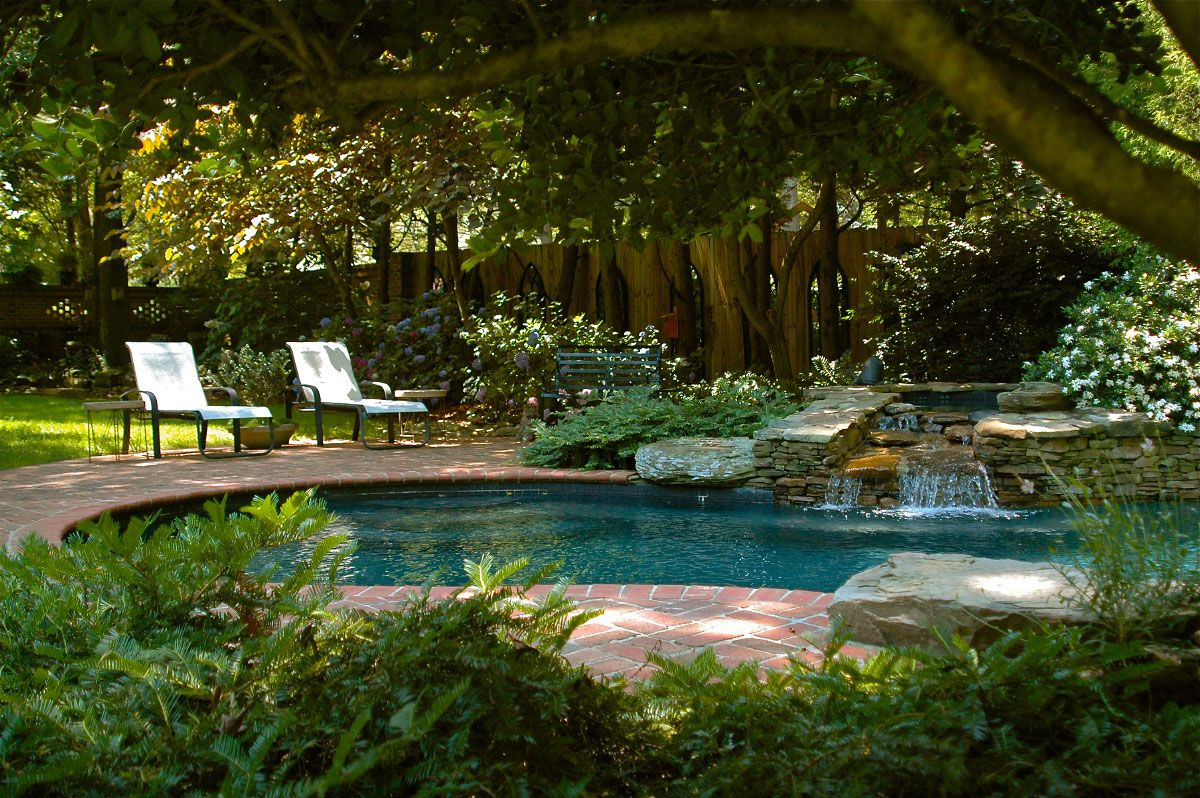 Nature Garden Swimming Pools Design Swimming Pool Design Photo - House with garden and swimming pool