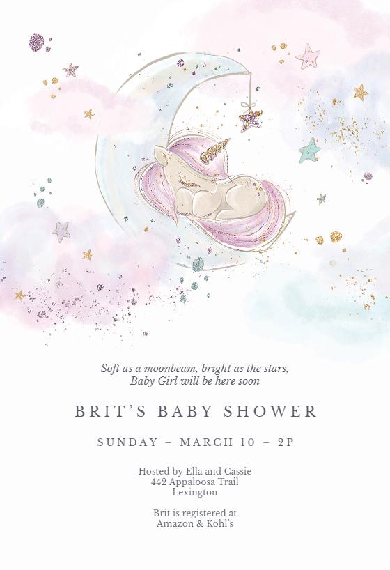 Baby Unicorn Baby Shower Invitation Template Greetings Island Baby Shower Invitations Diy Printable Baby Shower Invitations Baby Shower Invites For Girl