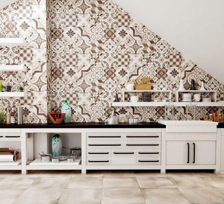 Cr dence cuisine moderne pour un int rieur chic et original ciment blanc - Credence cuisine carreau ciment ...