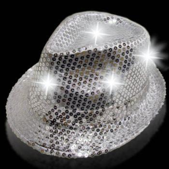 Silver Sequin L.e.d. Fedora