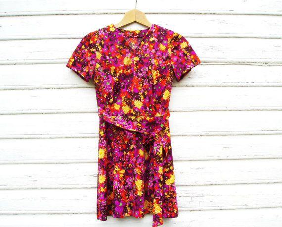 Floral Mini Dress US Size 8 EU 38 Vintage Womens by MerilinsRetro
