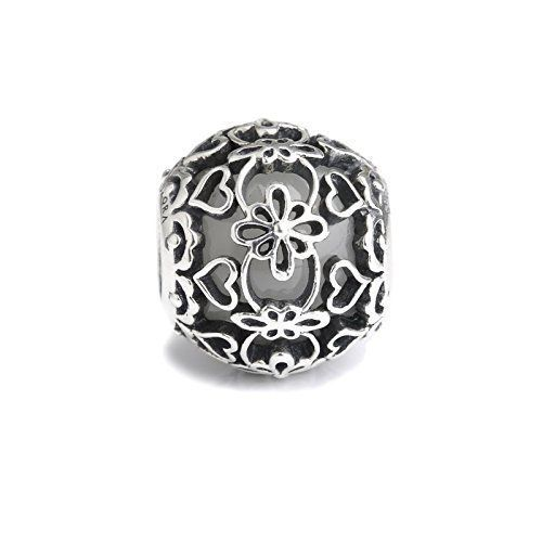 77e96c479 Amazon.com: White Murano Glass & Sterling Silver Lace Charm S925, Vintage  Ivory wedding Lace Silver Charm Bead pendant, Lace Bridal Wedding Boho  Jewelry, ...