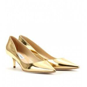 Gold Kitten Heel Pumps - Qu Heel