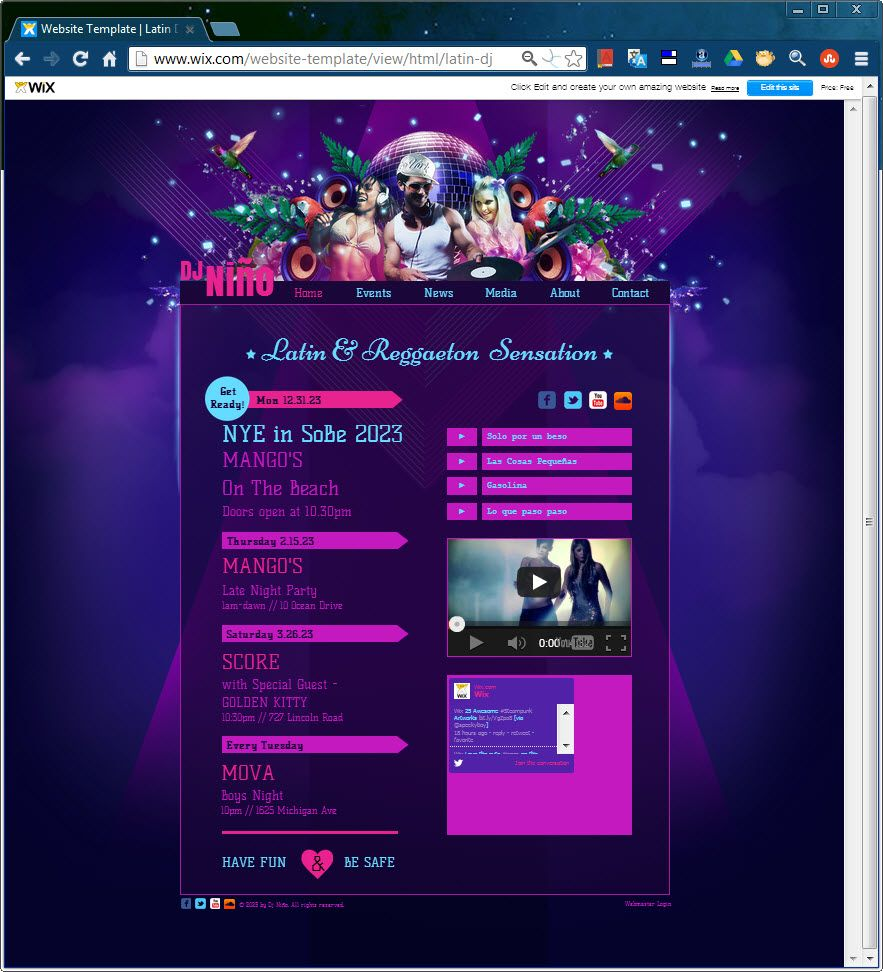 Share your sweet beats with your fans with this stunning purple HTML ...