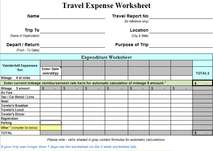 10 Travel Expense Calculator Templates
