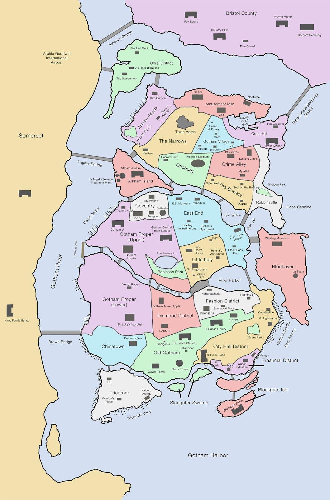 Gotham City Districts | Gotham City | Gotham city map ...